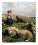 Shepherdess With Sheep In A Landscape Fleece Blanket