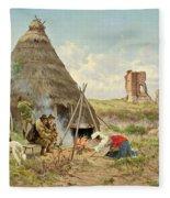 Shepherds Resting In The Roman Campagna Fleece Blanket