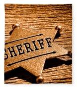 Sheriff Badge - Sepia Fleece Blanket