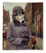 Shetland Sheepdog Art Canvas Print - Charleston Blue Fleece Blanket