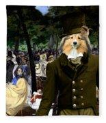 Shetland Sheepdog Art Canvas Print - Music In The Tuileries Gardens Fleece Blanket
