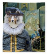 Shetland Sheepdog Art Canvas Print - The Painter And His Studio Fleece Blanket
