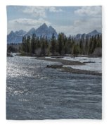 Shimmering Snake River And The Tetons Fleece Blanket