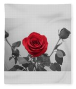 Shining Red Rose Fleece Blanket