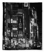 Shinjyuku At Night Fleece Blanket