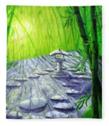 Shinto Lantern In Bamboo Forest Fleece Blanket