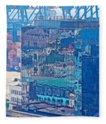 Shipping Containers And Building Windows Reflecting Graffiti  Art Of Valparaiso-chile Fleece Blanket