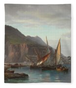 Shipping Off Gibraltar, 1880 Fleece Blanket