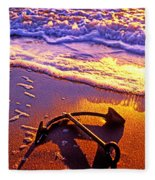 Ships Anchor On Beach Fleece Blanket