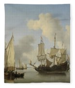 Ships At Anchor On The Coast  Willem Van De Velde II C 1660 Fleece Blanket