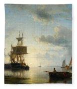 Ships At Dusk Fleece Blanket
