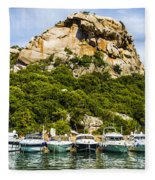 Ships Collection To Italian Harbor Fleece Blanket