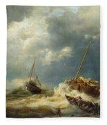 Ships In A Storm On The Dutch Coast Fleece Blanket