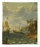 Ships Moored Off A Rocky Coastline With Fishermen Unloading Their Catch Fleece Blanket