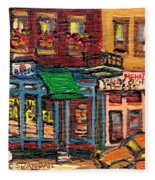St Viateur Bagel Shop And Mehadrins Kosher Deli Best Original Montreal Jewish Landmark Painting  Fleece Blanket