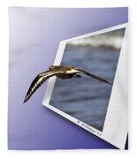 Shore Bird In Flight Fleece Blanket