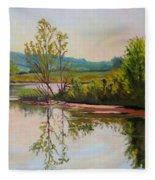 Shoreline At Evening Fleece Blanket