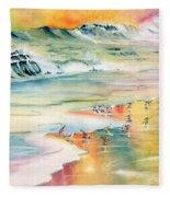 Shoreline Watercolor Fleece Blanket