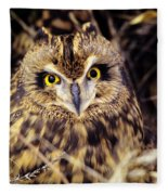 Short Eared Owl Fleece Blanket