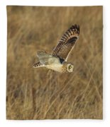 Short-eared Owl With Vole Fleece Blanket