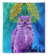 Owl At Night Fleece Blanket