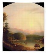 Shoshone Indians At A Mountain Lake Fleece Blanket