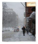 Shoveling Snow Fleece Blanket
