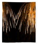 Shower Of Orange Colors Using Pyrotechnics Firework Fleece Blanket