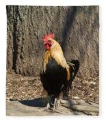Showy Rooster Posed Fleece Blanket
