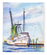 Shrimp Boat Gulf Fishing Fleece Blanket