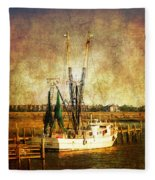 Shrimp Boat In Charleston Fleece Blanket
