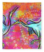 Siberian Cranes Fleece Blanket