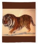 Siberian Snow Tiger Fleece Blanket