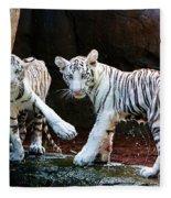 Siberian Tiger Cubs Fleece Blanket