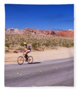 Side Profile Of A Person Cycling Fleece Blanket