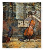 Sidewalk Cellist Fleece Blanket