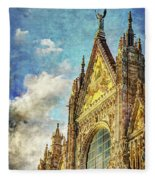 Siena Duomo Facade In The Sunset Fleece Blanket
