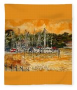 Sienna Sky Boat Marina Nautical Art Fleece Blanket