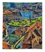 Sighisoara From Above Fleece Blanket