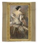 Signora Bruna In Abito Da Sera 1892 94 Giovanni Boldini Fleece Blanket