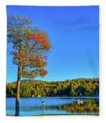 Signs Of Autumn On Old Forge Pond Fleece Blanket