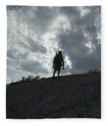 Silhouette Of A Hiker On Middle Sugarloaf Mountain - White Mountains New Hampshire Usa Fleece Blanket