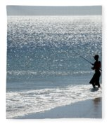 Silhouette Of A Man Fishing Fleece Blanket