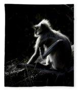 Silhouette Of A Monkey Fleece Blanket