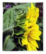 Silhouette Of A Sunflower Fleece Blanket