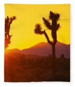 Silhouette Of Joshua Trees Yucca Fleece Blanket