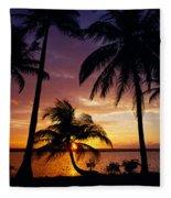Silhouette Of Palm Tree On The Coast Fleece Blanket