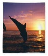 Silhouette Of Two Bottlenose Dolphins Fleece Blanket