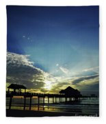 Silhouette Pier 60 Sunset Fleece Blanket