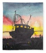 Grounded Shrimp Boat Fleece Blanket